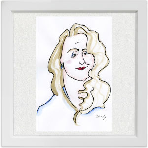 Lassi Rajamaan piirros oopperalaulaja Monica Groopista.