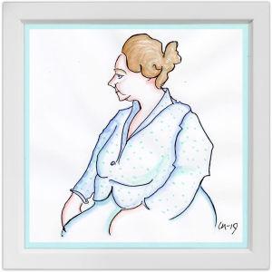 Lassi Rajamaan piirros pianotaiteilija Margaret Kilpisestä.