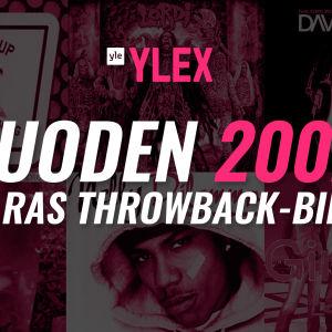 Kuvassa teksti Vuoden 2002 paras Throwback-biisi ja cd-levyjen kansikuvia.