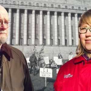 Osmo Soininvaara ja Annastiina Airaksinen, taustalla eduskuntatalo ja mielenosoitus vuonna 1980