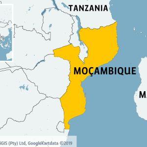 Karta över södra Afrika med Moçambique utmärkt med gult