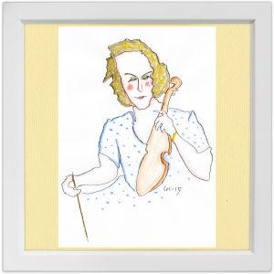Lassi Rajamaan piirros viulutaiteilija Anja Ignatiuksesta.