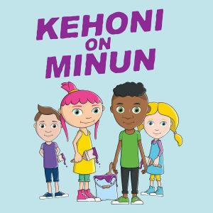 Animoidussa kuvassa neljä lasta, kaksi tyttöä ja kaksi poikaa. Heidän yläpuolella teksti Kehoni on minun.