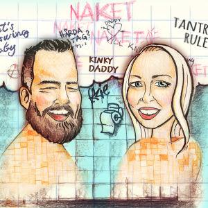 En ritad bild av journalisten Stan Saanila och sexologen Satu Söderström som tittar in i kameran.
