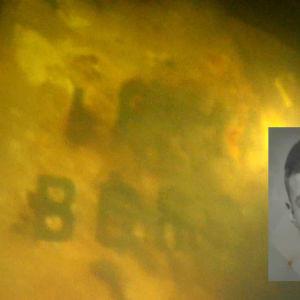 en svartvit bild av en ung mans anskikte mot gul bild av en del av vraket efter m/s irma