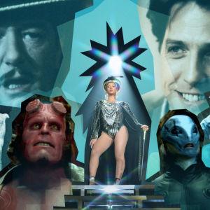 Kuvassa on artikkeliin valituista teoksista hahmoja, kuten Hugh Grant, Michael Gambon, Hellboy ja Beyonce.