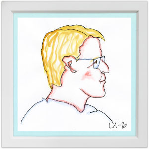 Lassi Rajamaan piirros kuoronjohtaja Nils Schweckendiekistä.