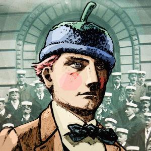 Kuvituskuvassa ylioppilas poseeraa ylpeästi mustikkapipo päässään.