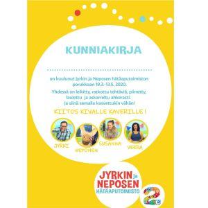 Jyrkin ja Neposen hätäaputoimiston kunniakirja