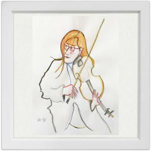 Lassi Rajamaan piirros viulisti Eriikka Maalismaasta.