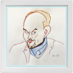 Lassi Rajamaan piirros kapellimestari, pianisti, säveltäjä Ville Matvejeffista.