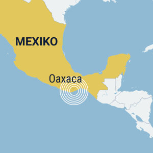 Karta där Mexiko är gulmarkerat och staden Oaxaca utmärkt.