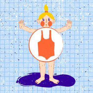 Kuvituskuva: Lapsi seisoo uimapukupäällä vesilammikossa. Uimapukualueen ympärillä on rengas.