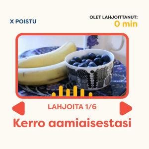 Kuvakaappaus Lahjoita puhetta -sivulta: Kerro aamiaisestasi -äänitystehtävä.