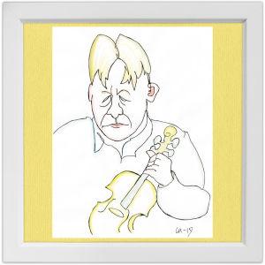 Lassi Rajamaan piirros viulisti Tero Latvalasta.