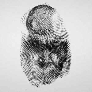 Ett fingeravtryck avbildat på ett papper.