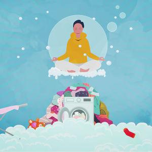 Kuvituskuva: Vanhempi leijuu saippuakuplan sisällä pesukoneen yläpuolella. Pesukoneen ympärillä on suuri pyykkikasa.
