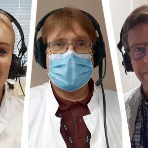 Pohjalaismaakuntien infektiolääkärit vastaamassa kuuntelijoiden kysymyksiin.