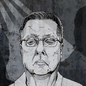 Piirroskuva Jari Aarniosta ja kahdesta varjohenkiöstä.