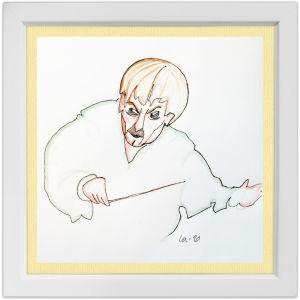 Lassi Rajamaan piirros kapellimestari Juha Kankaasta.