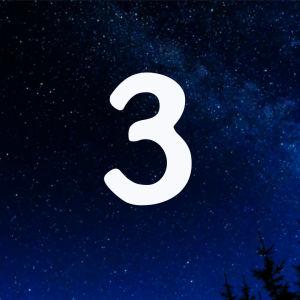 Kuvituskuva. Tähtitaivas ja joulukalenterin luukku nro 3.