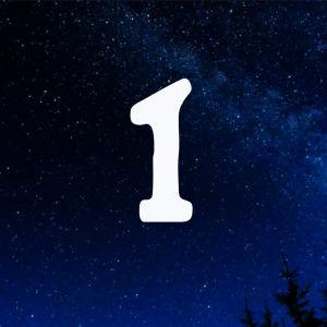 Kuvituskuva. Tähtitaivas ja joulukalenterin luukku nro 1.