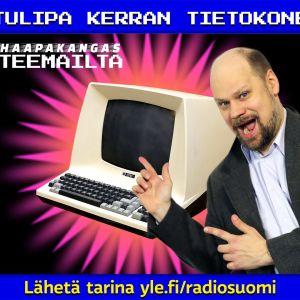 Olli mainostamassa vanhaa tietokonetta