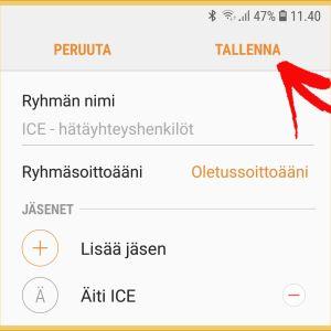 Kuvakaappaus Samsung-puhelimesta: ICE-henkilön lisääminen osa 7: Talenna lopuksi.