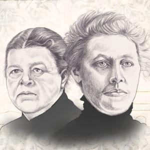 Lyijykynä piirrokset Wivi Lönnistä ja Hanna Parviaisesta