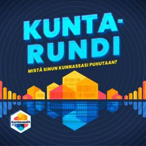 Ylen Kuntarundi audiosarjan pääkuva. Logossa värikkäita taloja ja tummansävyisiä kuntavaakunoita.