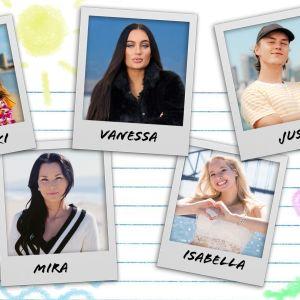 Kollaasi, jossa ovat Polaroid-tyylisesti esitetyt valokuvat Au pairien Talvikista, Vanessasta, Jussista, Mirasta ja Isabellasta.