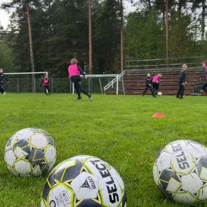 Kuvassa etualalla kolme jalkapalloa ja taaempana jalkapallojunioreita harjoituksissa