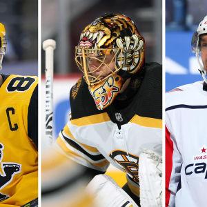 Sidney Crosby, Tuukka Rask ja Alexander Ovetshkin