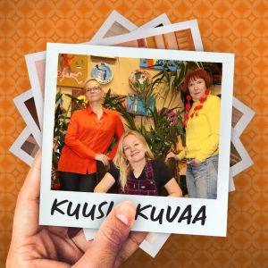 Ohjelman artikkelikuva, jossa pino neliönmuotoisia valokuvia. Päällimmäisenä Liksom Lux - yhtyeen jäseniä.