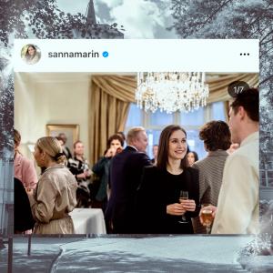 Sanna Marinin instagram kuva Kesärannan asunnon edessä kollaasissa.
