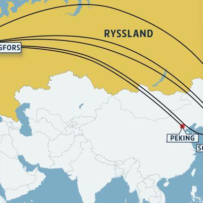 Finnairs flygrutter till Asien