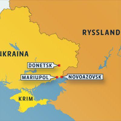Karta över städer i Ukraina