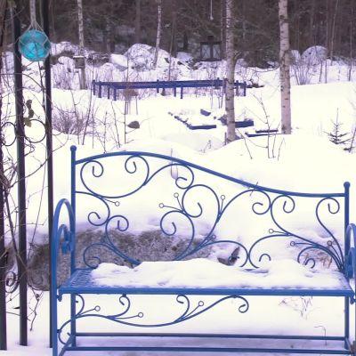 en bänk i en snötäckt trädgård
