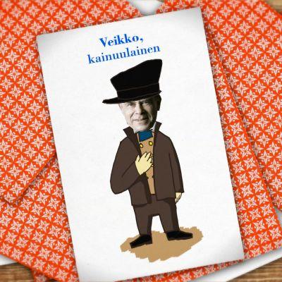 Kuvassa pelikortti, jossa Veikko Huovinen.