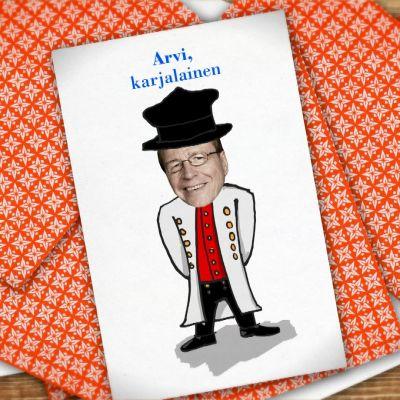 Kuvassa pelikortti, jossa on Arvi Lind.