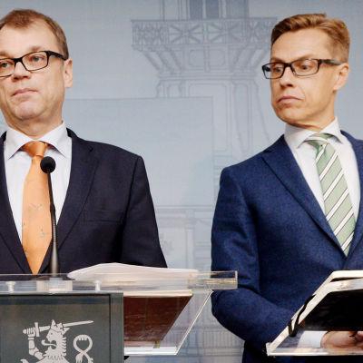 Statsminister Juha Sipilä och finansminister Alexander Stubb