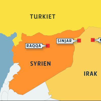 Karta över Syrien och Irak