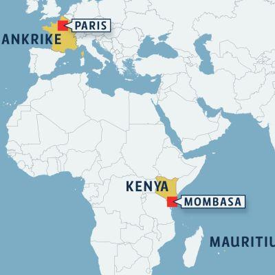 Air France-plan nödlandade i Mombasa.