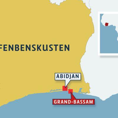 Karta över Elfenbenskusten.