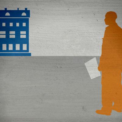 Grafik: En asylsökande står med ett papper i handen utanför ett hus.