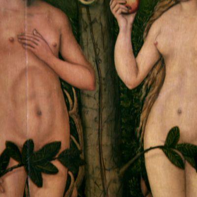 Aatami ja Eeva verhoavat itsensä lehdillä.