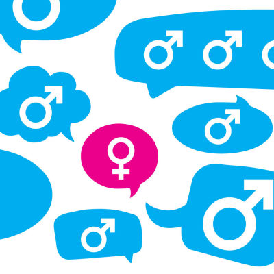 miehet ja naiset puhekuplissa