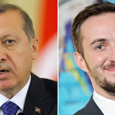 Turkin presidentti Recep Tayyip Erdogan ja Saksan kohutuin satiirikko Jan Böhmermann