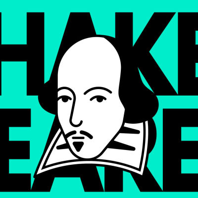 Piirretty kuva William Shakespearen naamasta ja teksti Shakespeare.