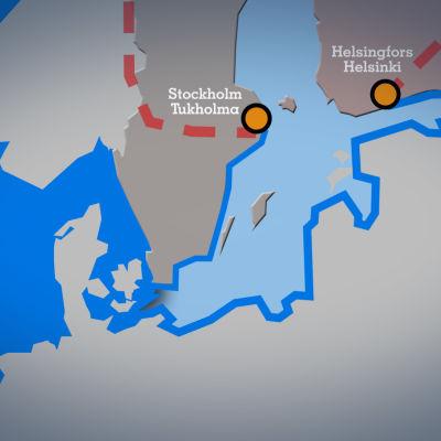 Itämeren karttakuva.